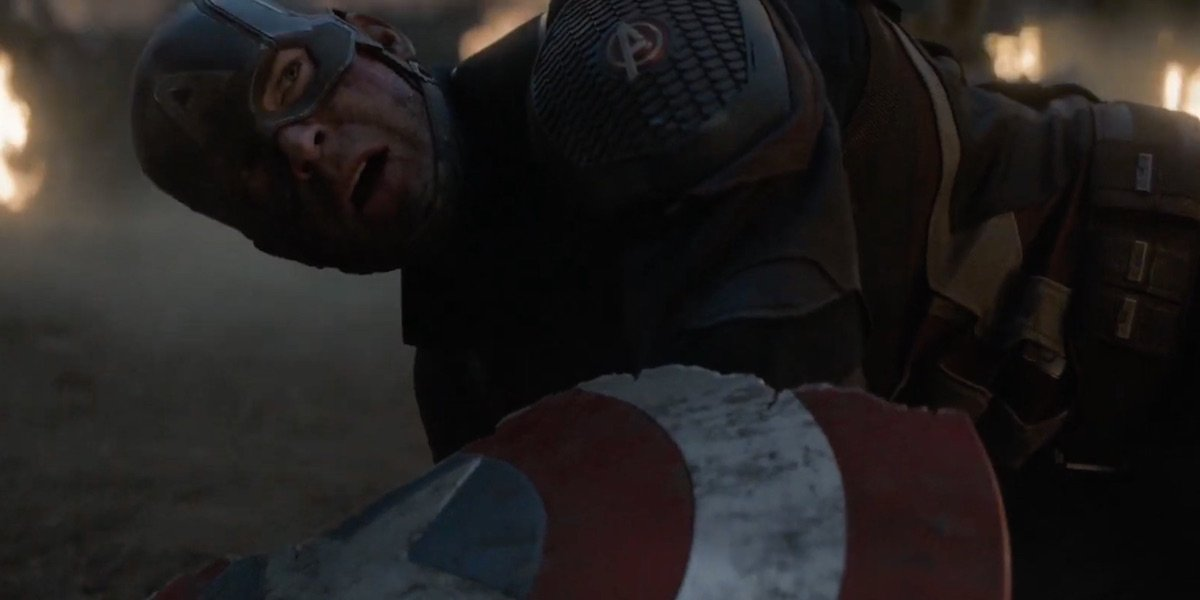 Captain America with broken shield in Avengers: Endgame
