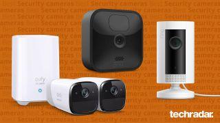 橙色背景的Anker Eufy 2, Blink Outdoor和Ring Indoor Cam