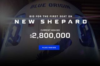 A crop from Blue Origin's website shows the current bid (as of Monday, June 7, 2021) on the first seat aboard New Shepard at $2.8 million. The auction ends Saturday, June 12.