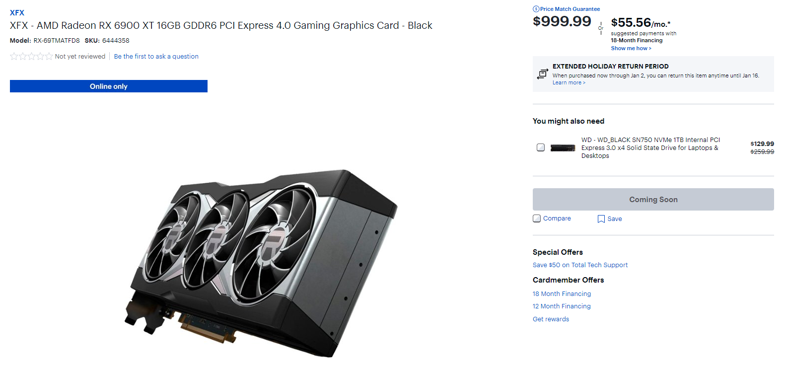 Best Buy RX 6900 XT coming soon listing