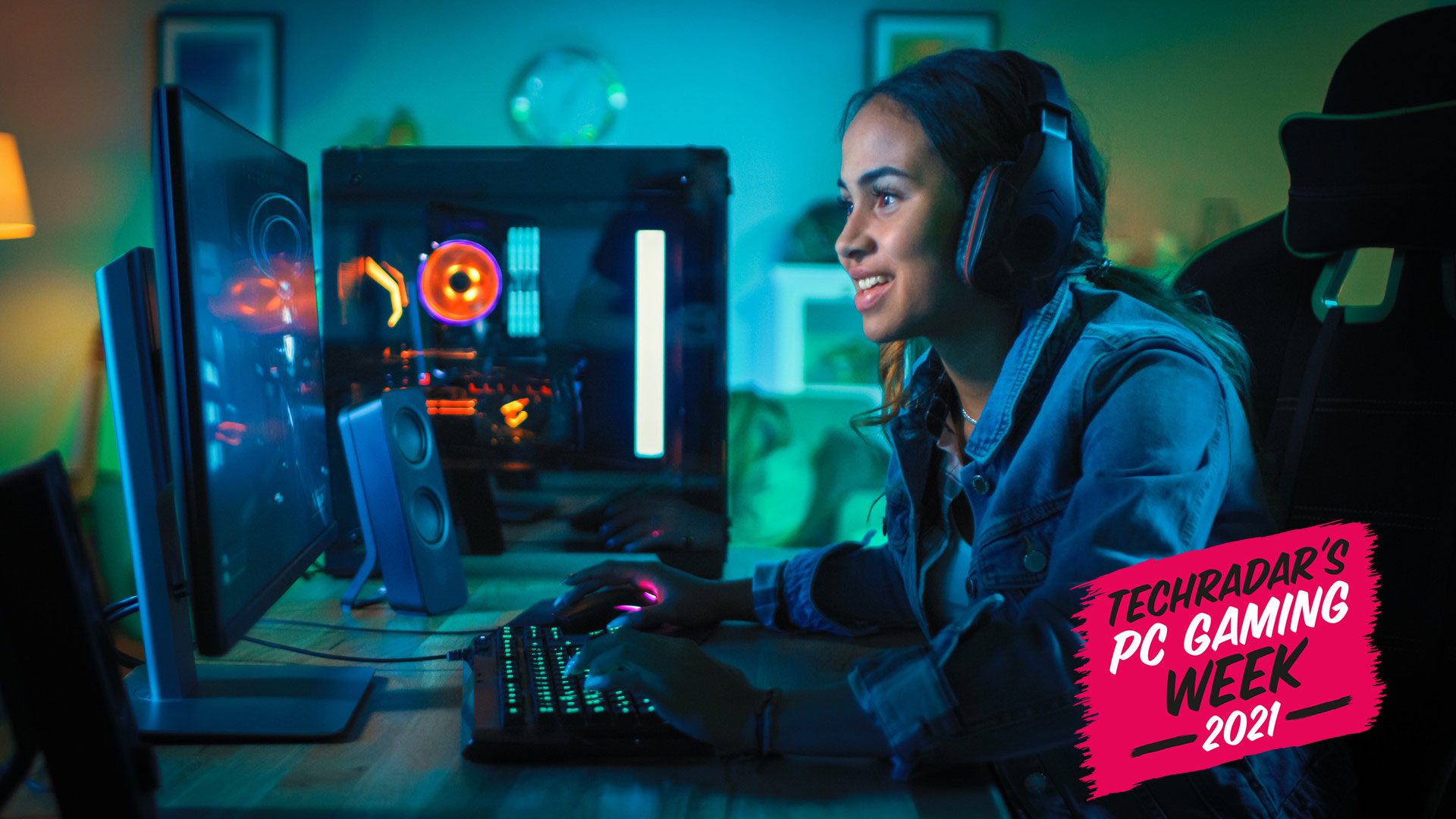 A PC gamer looking happy