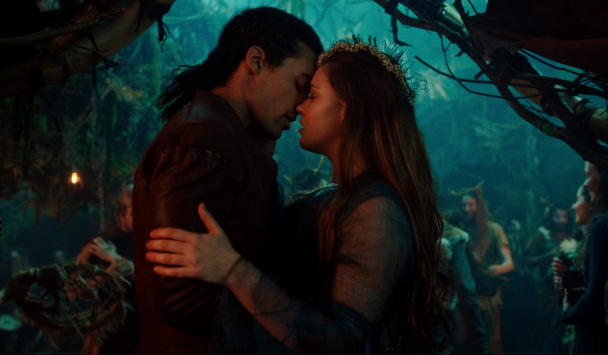 Devon Terrell as Arthur and Katherine Langford as Nimue in Cursed