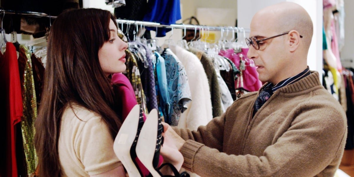 Anne Hathaway and Stanley Tucci in Devil Wears Prada