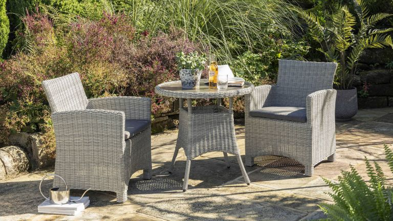 best bistro sets: KETTLER Palma 2-Seater Round Garden Bistro Table & Chairs Set