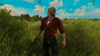 Geralt in a red flannel shirt