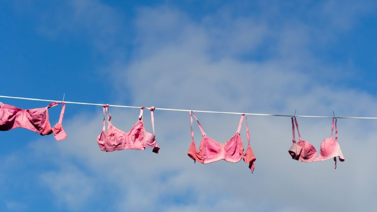 how to wash bras: bras on washing line