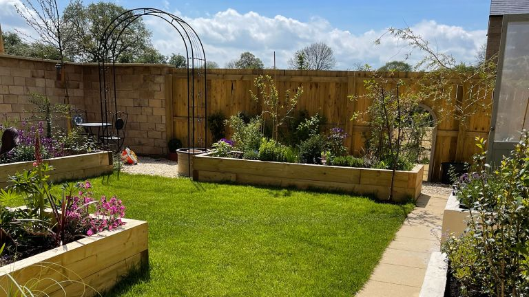raised planters in new build garden