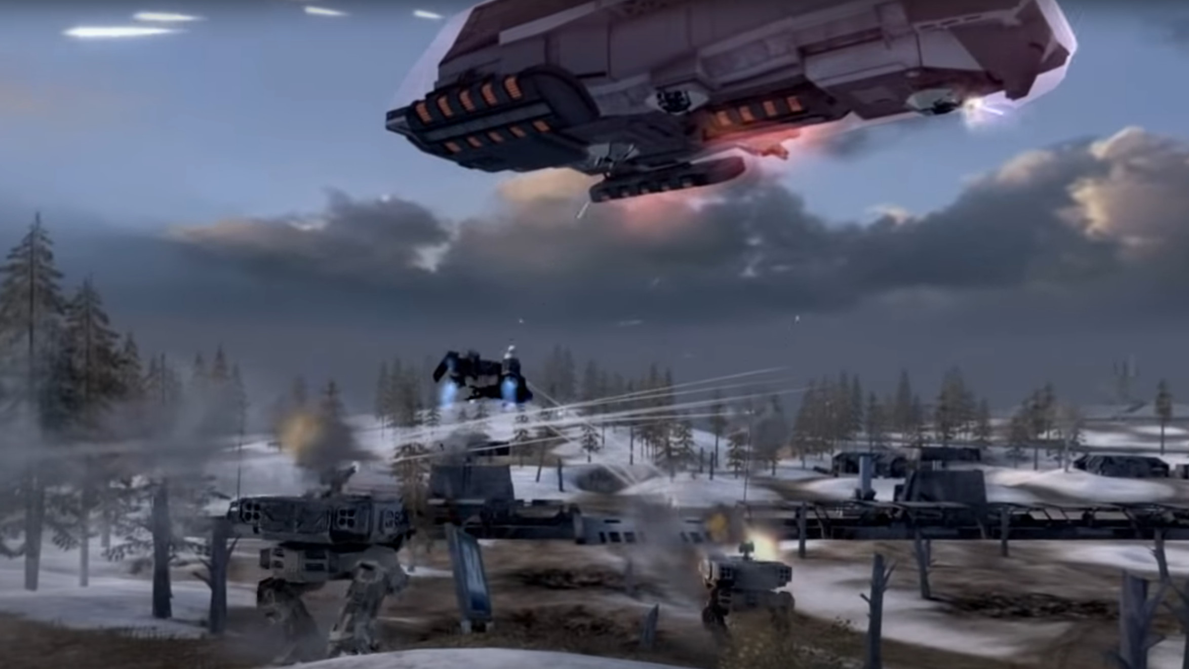 Mechs, dropships and more assault one of Battlefield 2142's titans.