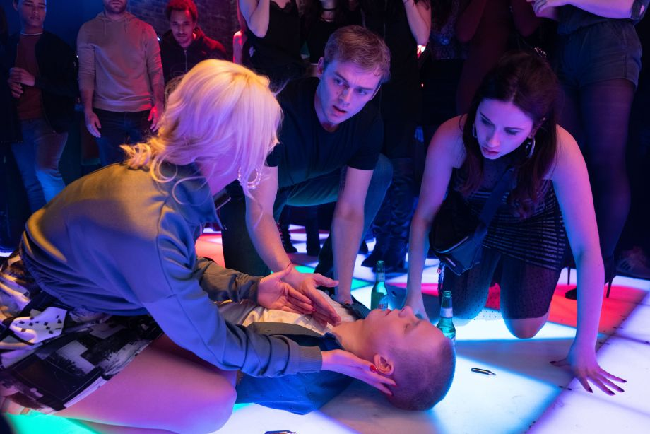 Bobby collapses at the club in EastEnders