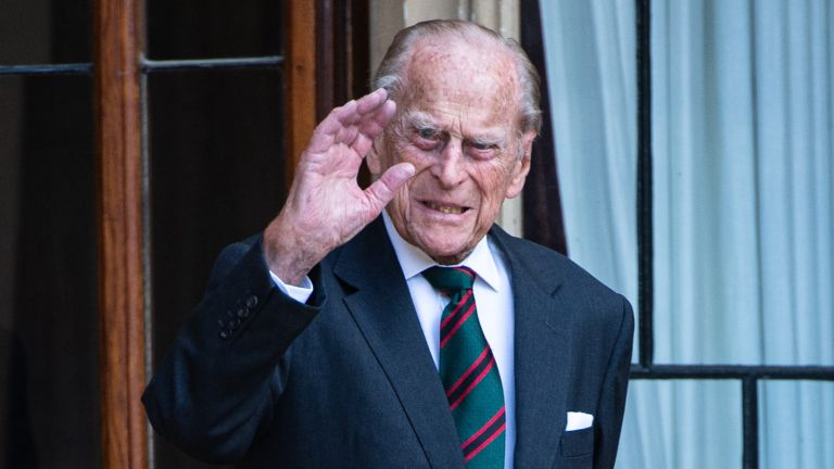 Prince Philip royal wave, Prince Philip, Duke of Edinburgh during the transfer of the Colonel-in-Chief of The Rifles at Windsor Castle on July 22, 2020 in Windsor, England.