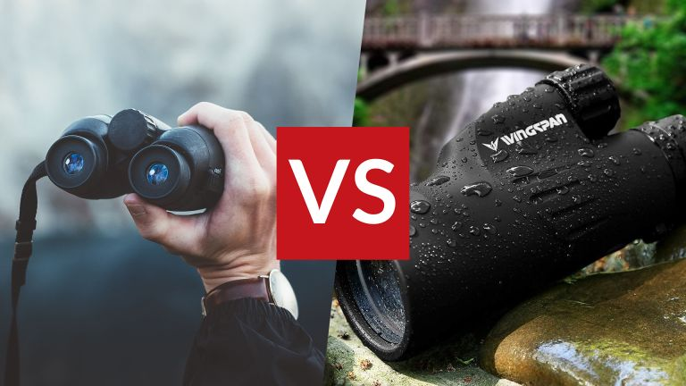 Person looking through binoculars on the left, on the right a close up of the Wingspan Optics Explorer Monocular