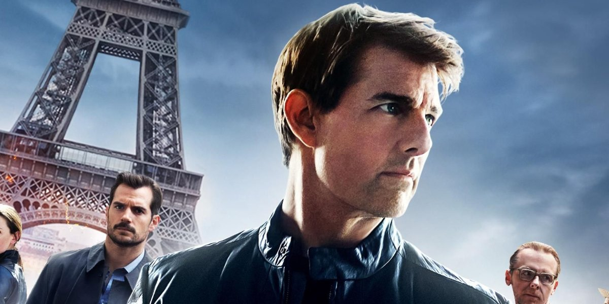 A promotional image from MIssion: Impossible Fallout shows Henry Cavill, Tom Cruise, and Simon Pegg standing in front of the Eiffel Tower.
