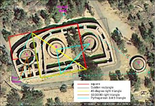 This satellite photo of the Sun Temple at the Mesa Verde archaeological site reveals its geometrical properties.