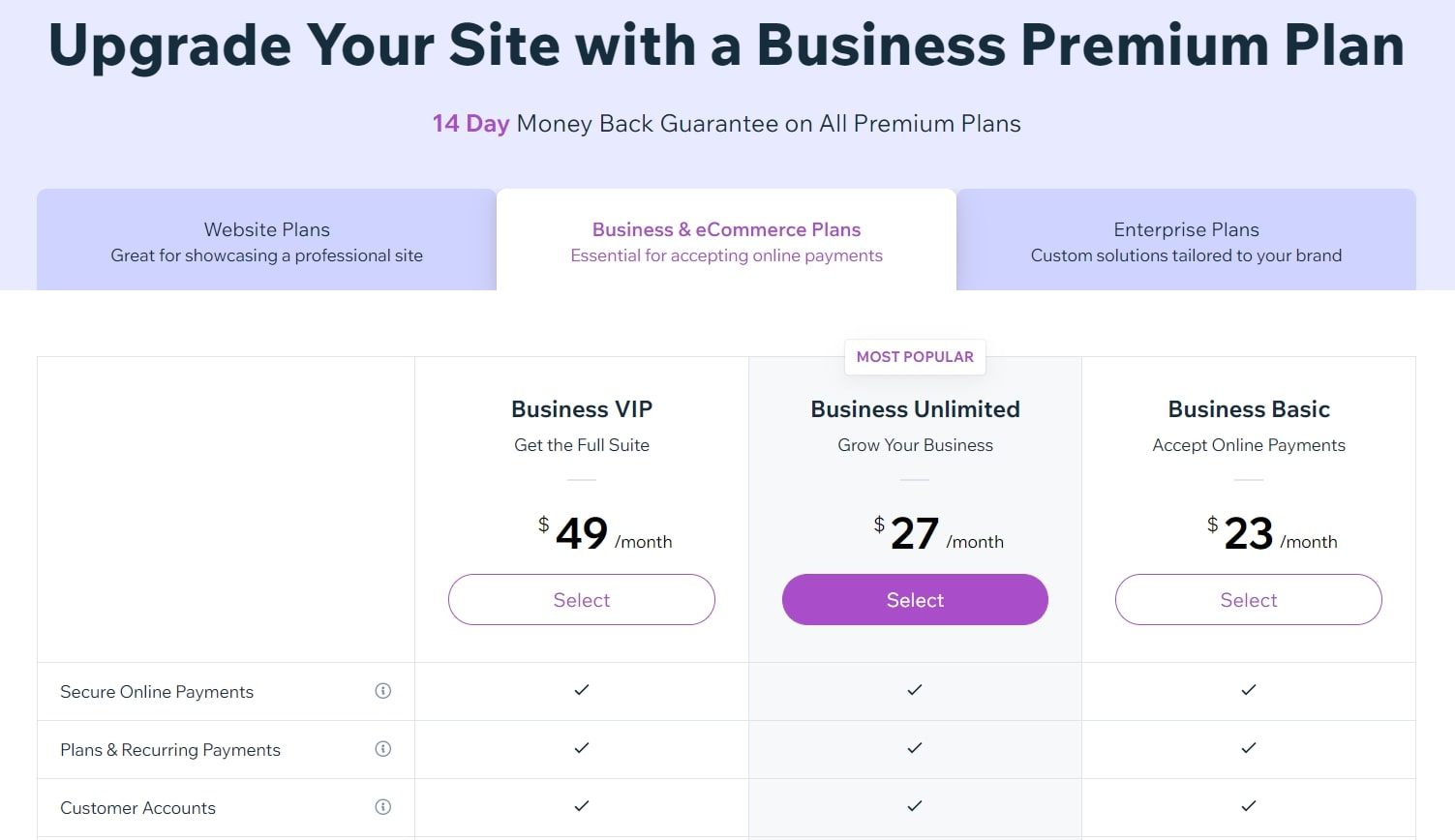 Wix's pricing plans for business and ecommerce