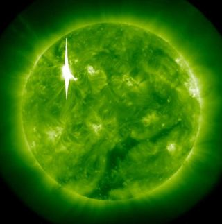 A massive X-class solar flare spewed from the sun on March 6, 2012.
