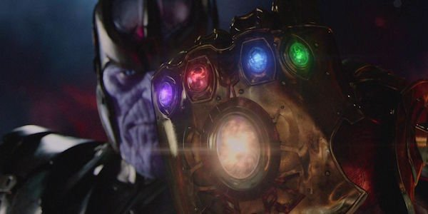 Thanos wearing Infinity Gauntlet with Infinity Stones in it