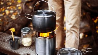 best wood-burning stoves: a wood burning stove cooking food