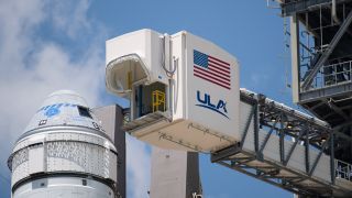 Boeing's CST-100 Starliner spacecraft sits atop its United Launch Alliance Atlas V rocket at the launch pad at Cape Canaveral Space Force Station in Florida ahead of the planned Aug. 3, 2021 launch of the Orbital Flight Test-2 (OFT-2) mission. Prelaunch tests revealed an issue with 13 valves in Starliner's service module, delaying the flight. NASA and Boeing are now targeting the first half of 2022 for the liftoff.