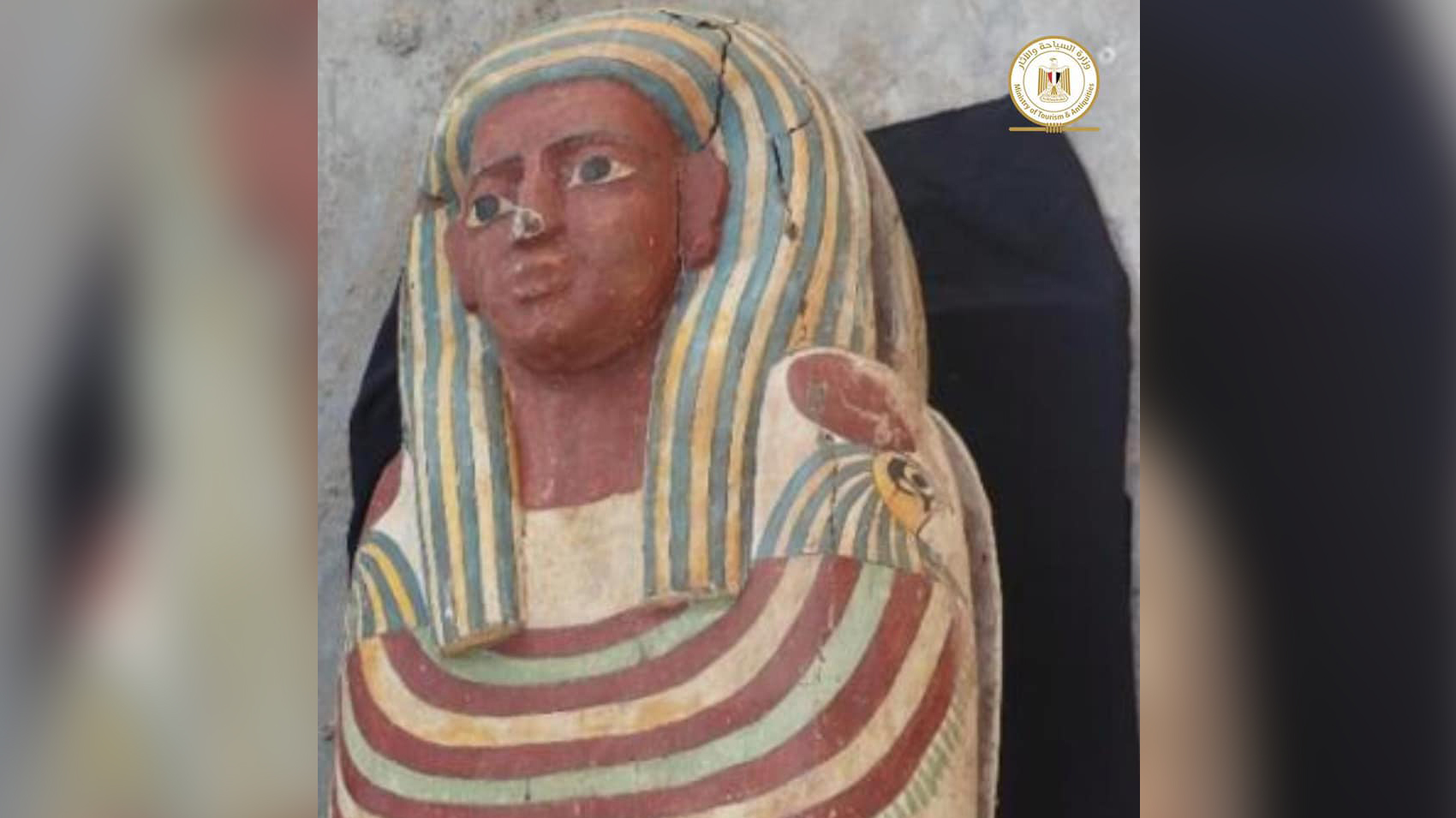 More than 50 wooden coffins have been found so far. Here, one of those wooden coffins from the site at Saqqara.