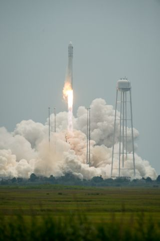 An Orbital Sciences Corporation Antares rocket launches the Cygnus cargo ship from Pad-0A at NASA's Wallops Flight Facility on Wallops Island, Virginia on Sunday, July 13, 2014. The commercial mission will deliver supplies to astronauts on the Internation