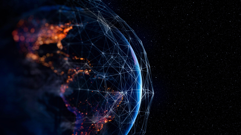 Vista artística 3D de la Tierra con la red de constelaciones de Internet por satélite
