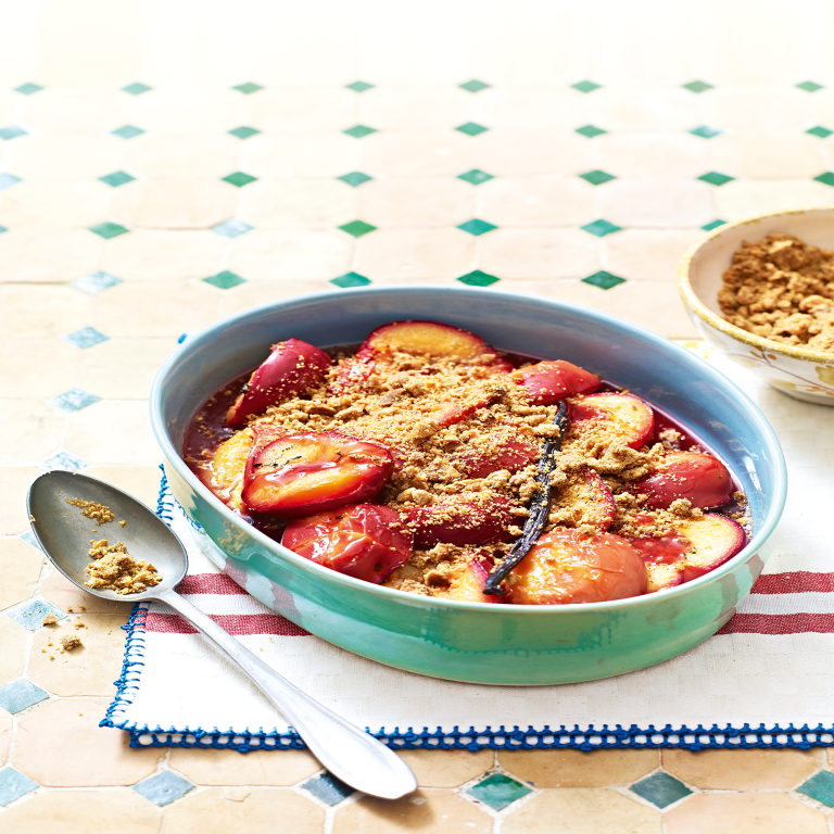 Baked plum crumble