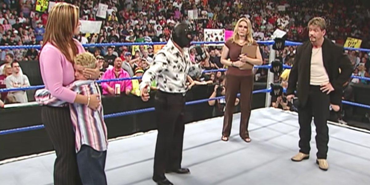 Rey Mysterio and Eddie Guerrero discussing the custody of Rey's son Dominik