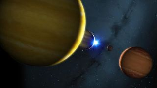 An artist's impression of the solar system, showing the four planets and their star.