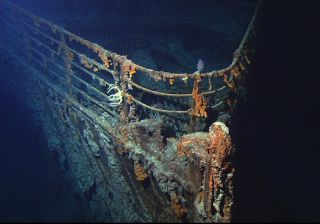 "The bow of the ""unsinkable"" RMS Titanic, which sank to the bottom of the North Atlantic Ocean in 1912."