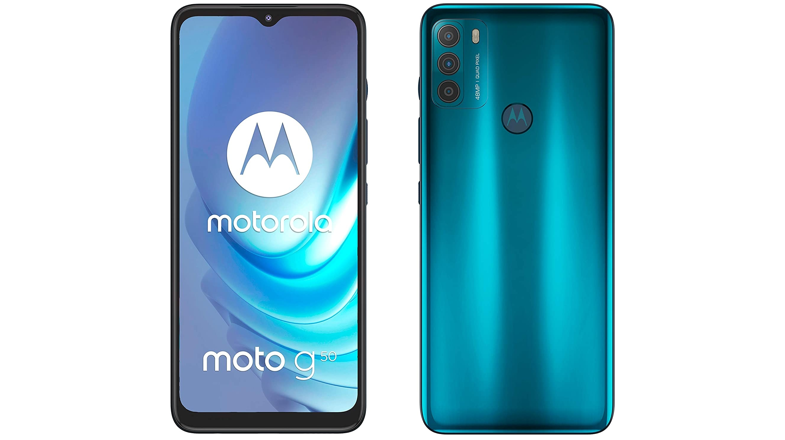 A Moto G50 against a white background