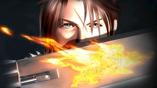 Squall and a flaming gunblade