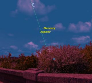 At sunset this week, there will be an unusual opportunity to see the elusive planet Mercury: Jupiter points the way.