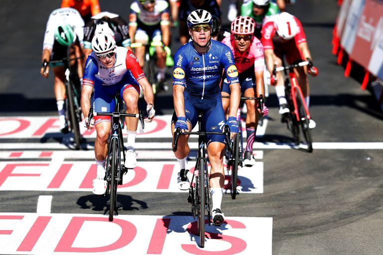Fabio Jakobsen celebrates winning stage four of the 2021 Vuelta