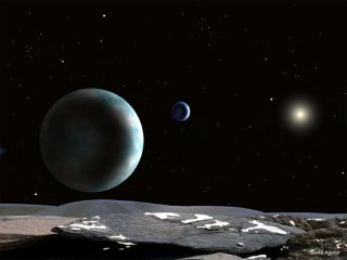 artist illustration shows pluto with its moons