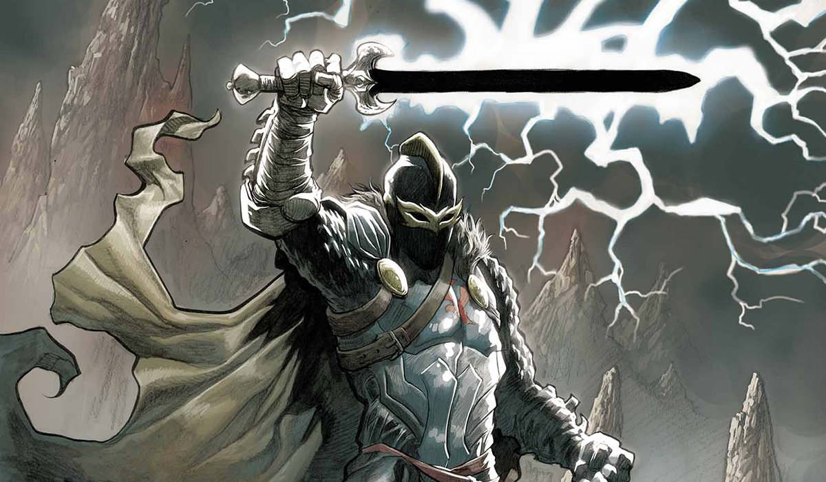 The Black Knight wielding the Ebony Blade