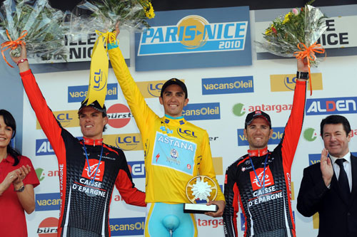 Alberto Contador, Alejandro Valverde and Luis Leon Sanchez on the podium, Paris-Nice 2010, stage seven