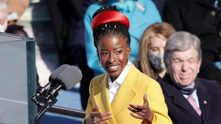 WASHINGTON, DC - JANUARY 20: Youth Poet Laureate Amanda Gorman speaks during the inauguration of U.S. President Joe Biden on the West Front of the U.S. Capitol on January 20, 2021 in Washington, DC. During today's inauguration ceremony Joe Biden becomes the 46th president of the United States. (Photo by Alex Wong/Getty Images)