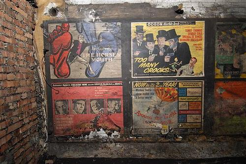 Vintage film posters dating from 1959 discovered in a disused  passageway of Notting Hill Gate tube station. Photos by Mike Ashworth of  London Underground.