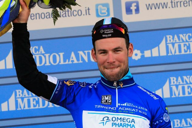 Mark Cavendish in leader's jersey after stage one TTT, Tirreno-Adriatico 2014