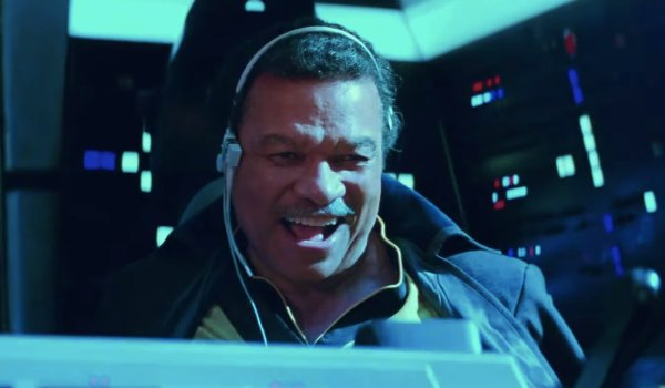 Star Wars: The Rise of Skywalker Lando smiling at the controls of the Falcon