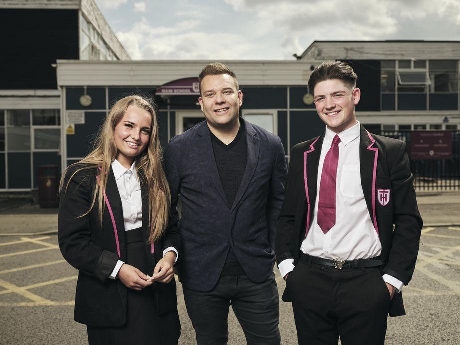 Student Courtney, entrepreneur Paul Rowlett and student Loui in The Secret Teacher