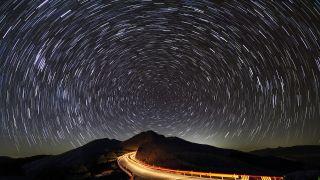Long exposure star trail image taken at Hehuan Mountain, Taiwan.