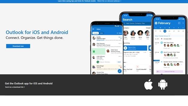Microsoft Outlook's app homepage