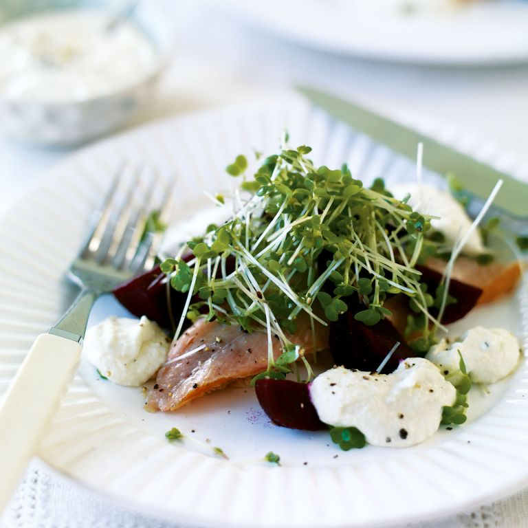 Smoked Trout with Horseradish, Beetroot and Cress