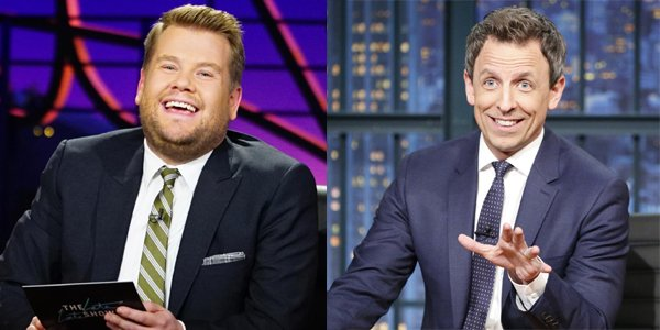 James Corden on The Late Late Show on CBS; Seth Meyers on Late Night on NBC
