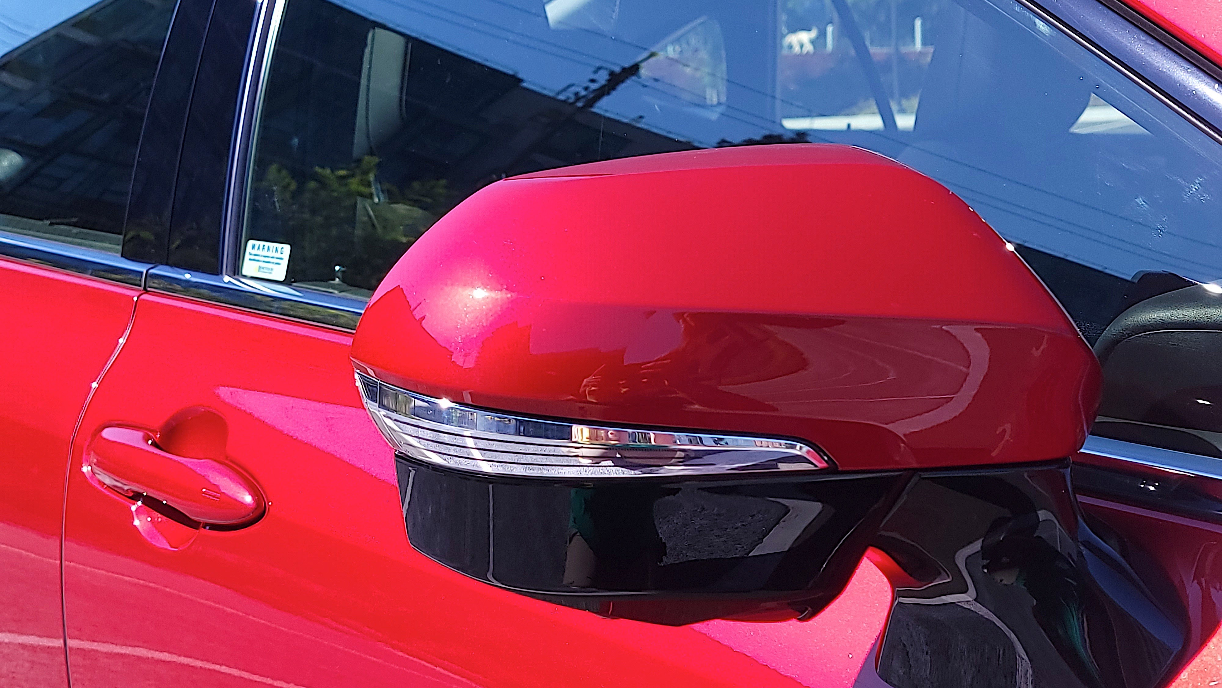 Rear view of the Toyota Mirai (2021) side mirror