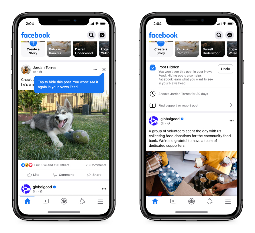 Facebook makes it easy to hide posts you don't like