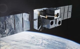 Artist's illustration of a Made In Space Europe robotic arm fixed to a Momentus Vigoride spacecraft.