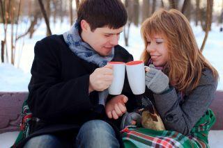 hot chocolate, couple, happy, winter