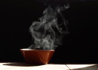 A steaming bowl